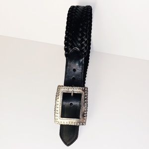 Vintage Brighton | Black Braided Leather Silver